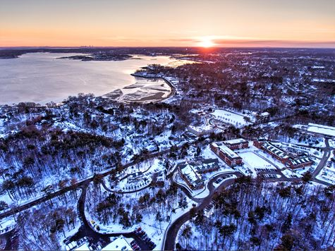 aerial winter shot of campus and ocean