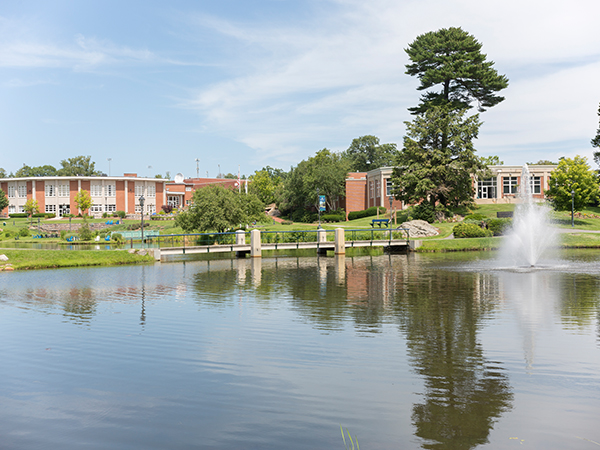 spring/summer shot of pond and academic buildings