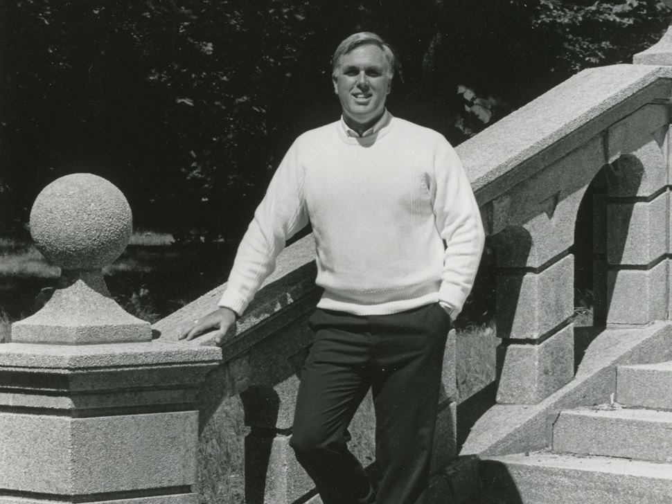 Dr. Richard E. Wylie circa 1988 on the steps behind College Hall