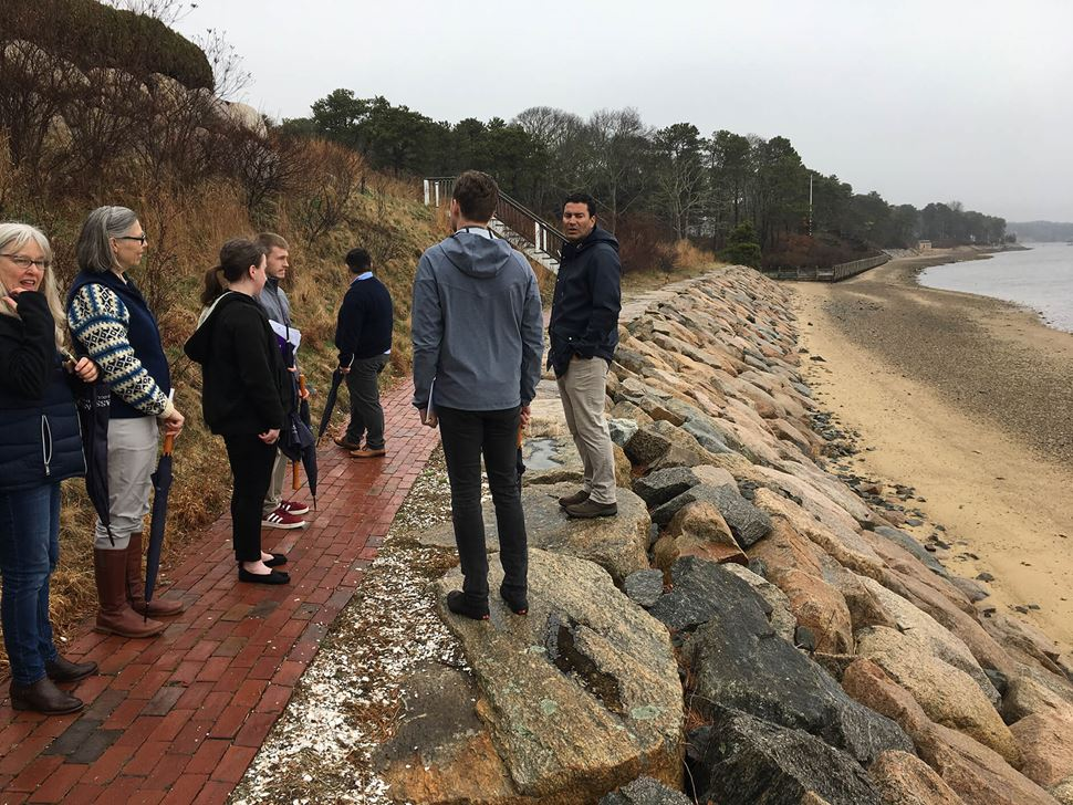 A group of Endicott Hospitality Students conduct mock sustainability audits alog the waters of Cape Cod, Mass.