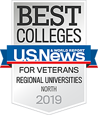 U.S. News Best Colleges for Veterans Regional Universities North 2019 Badge