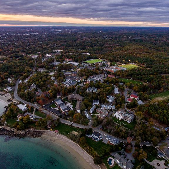 aerial view of endicott campus plus ocean