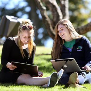 two students working on laptops outside in the grass on a sunny day