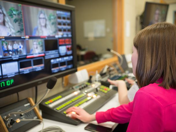 Endicott College students work in TV control room