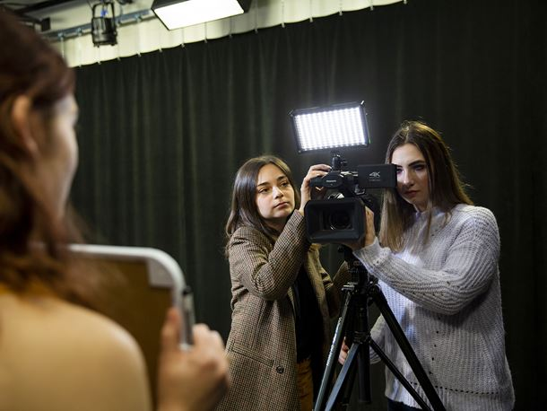 Endicott College students in digital filmmaking studio