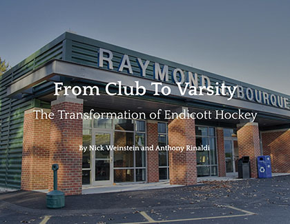 "Raymond J. Bourque Arena with text overlay that reads ""From Club to Varsity"""
