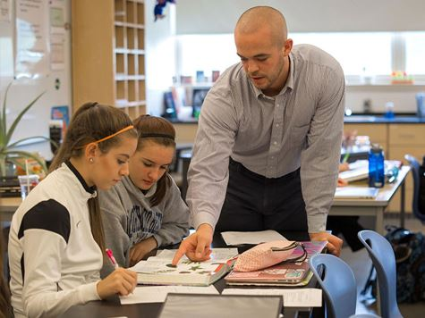 Endicott College student teacher in the classroom