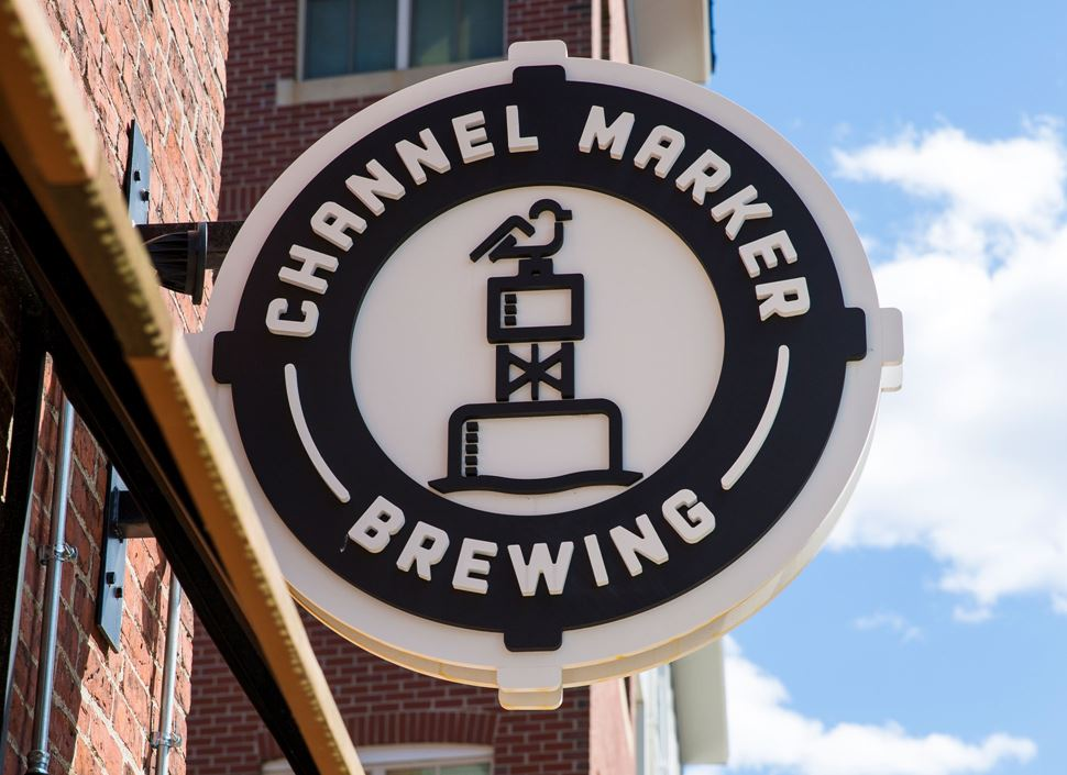 Channel Marker Brewery logo in downtown Beverly, Mass.