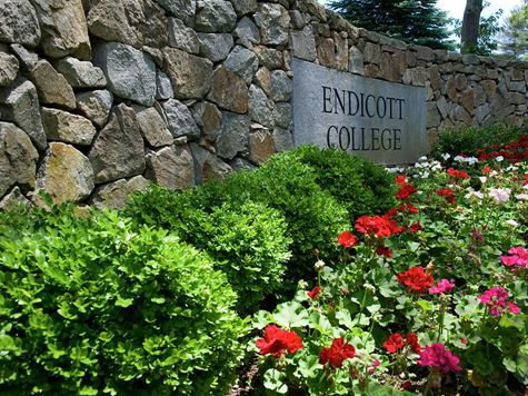 angled shot of stone sign for endicott college surrounded by flowers