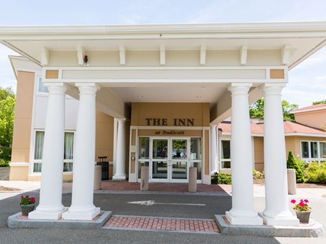 shot of entrance to on campus inn