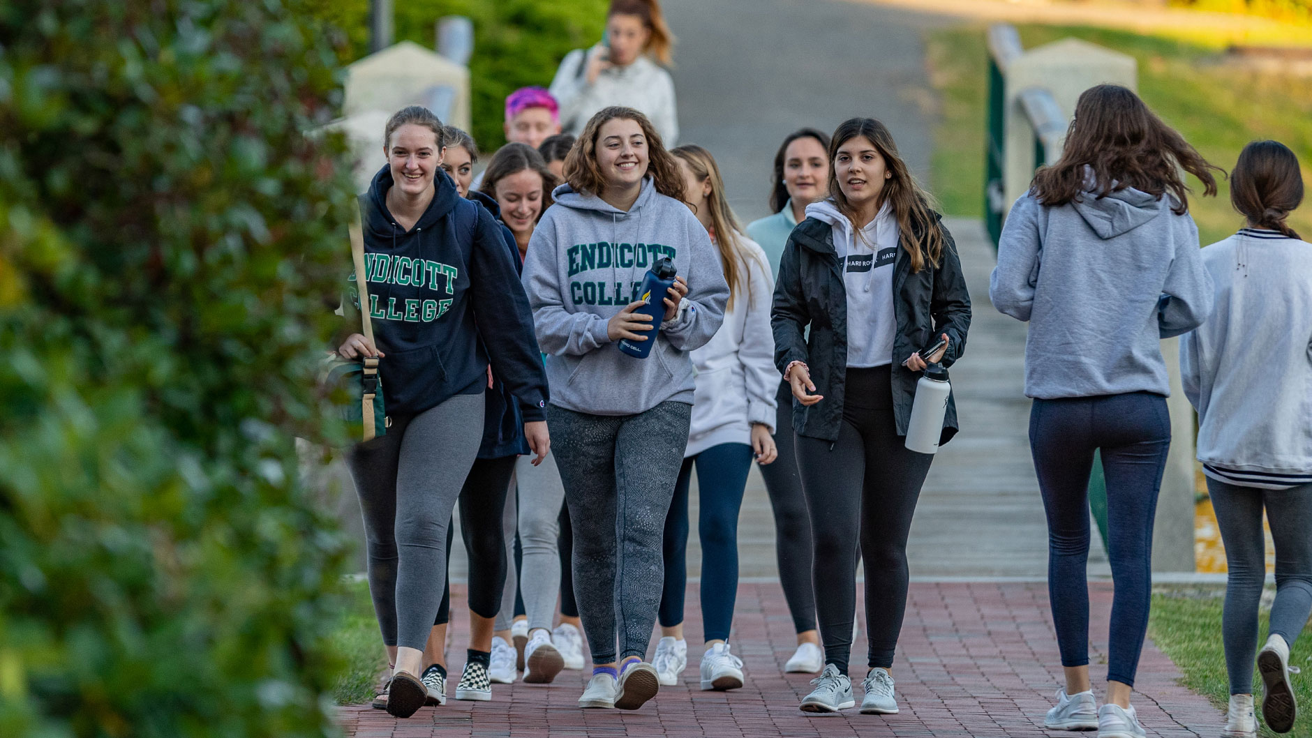 Students walking on the Endicott College campus