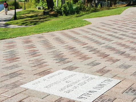 alumni donation brick walk way