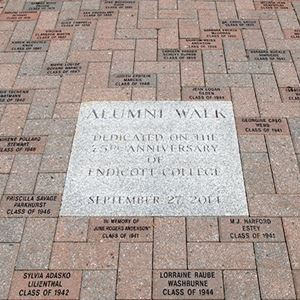photograph of bricks and inscription on alumni walk