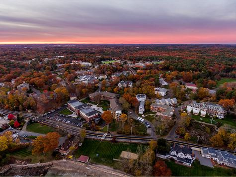 scenic aerial shot of campus during sunrise/sunset