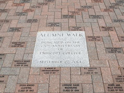 image of bricks and inscription on alumni walk