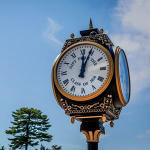 angled photograph of clock which was 2010 senior class gift to endicott