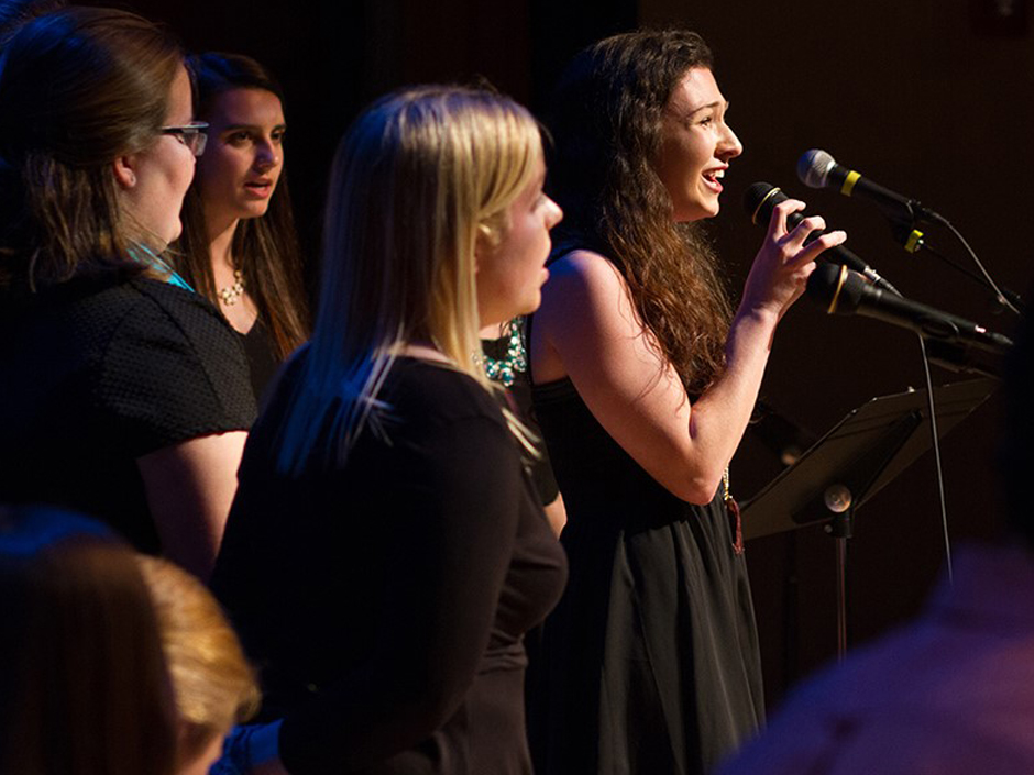 Recent Endicott College Alumnae Megan Comstock and Alyssa Chamberlain performing at last year's Friends and Families Concert.
