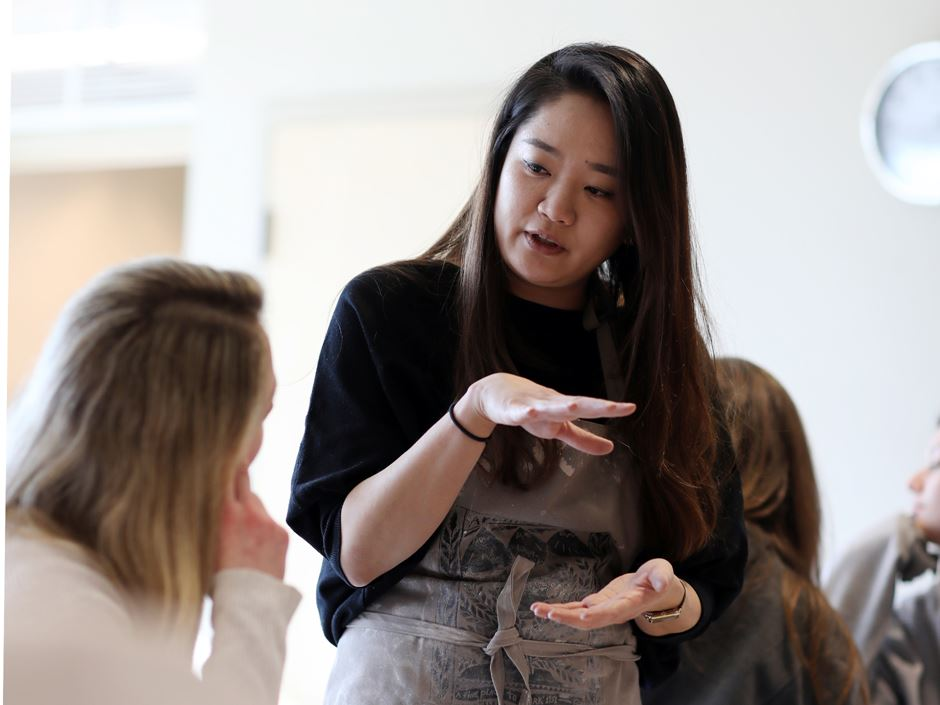 Kyungmin Park, assistant professor of ceramics courses at Endicott, teaches her students about the life of an artist by living the life of an artist herself.