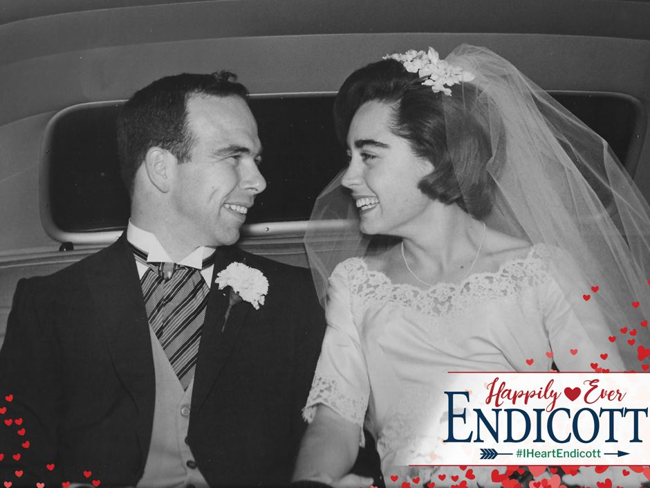 Two former Endicott students in wedding picture submitted to the Happily Ever Endicott story