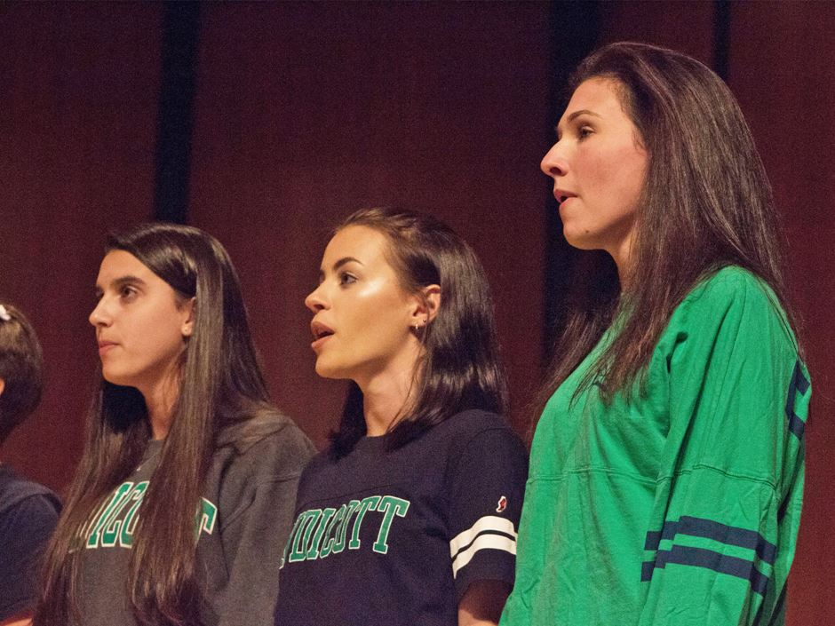 Three members of the Endicott Singers perform