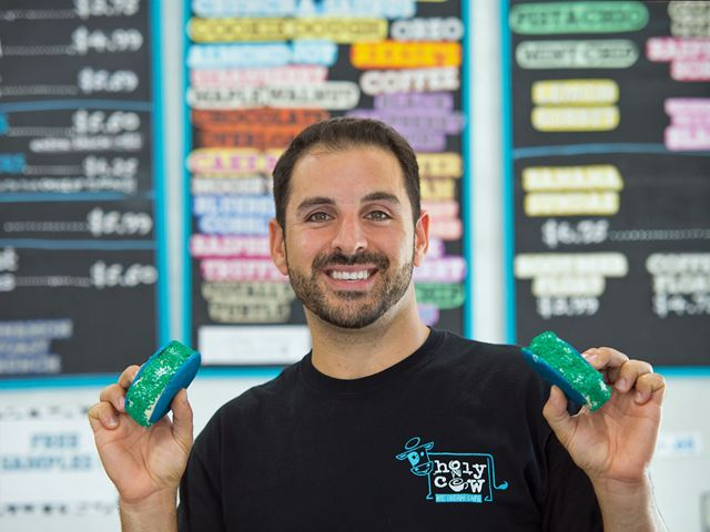 Mike Schifino '09, owner of Holy Cow Ice Cream Cafe