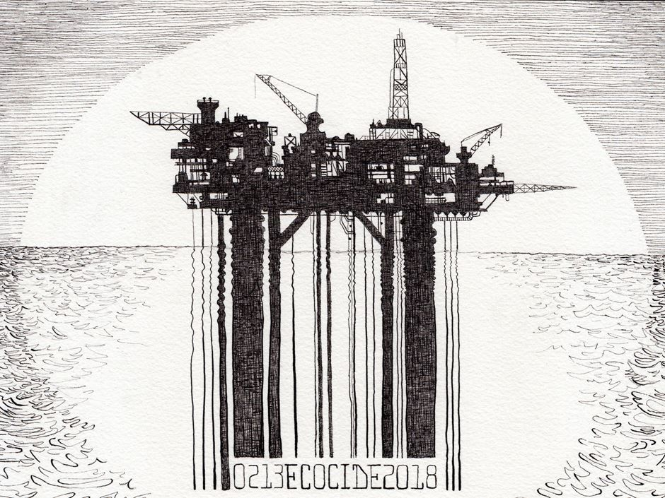 "The image shows ""Rigged Platform"" Ink on paper, an art piece by Zoe Matthiessen"