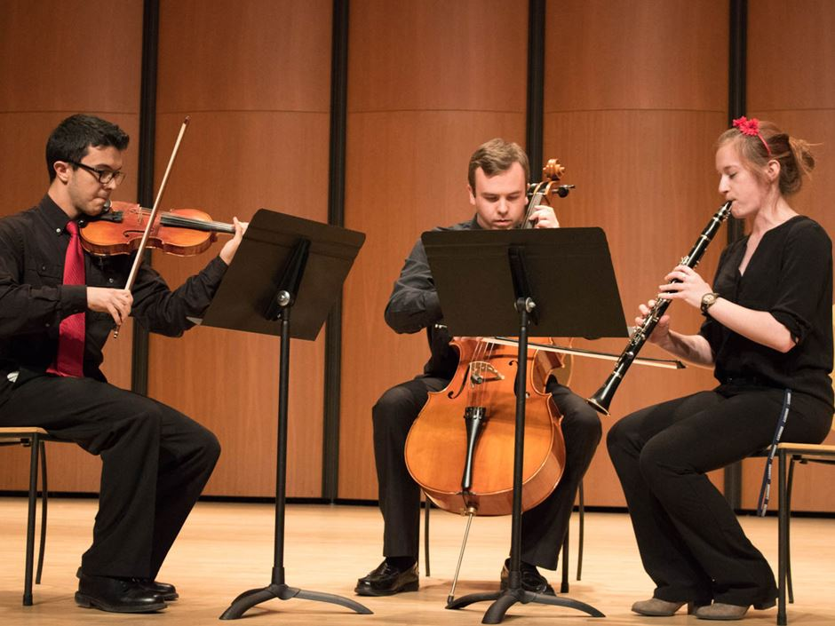 The Endicott Chamber Ensemble performing pieces for strings and winds
