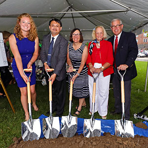 Groundbreaking ceremony with members of the Endicott community