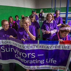 Survivors walking in Endicott's Relay for Life event