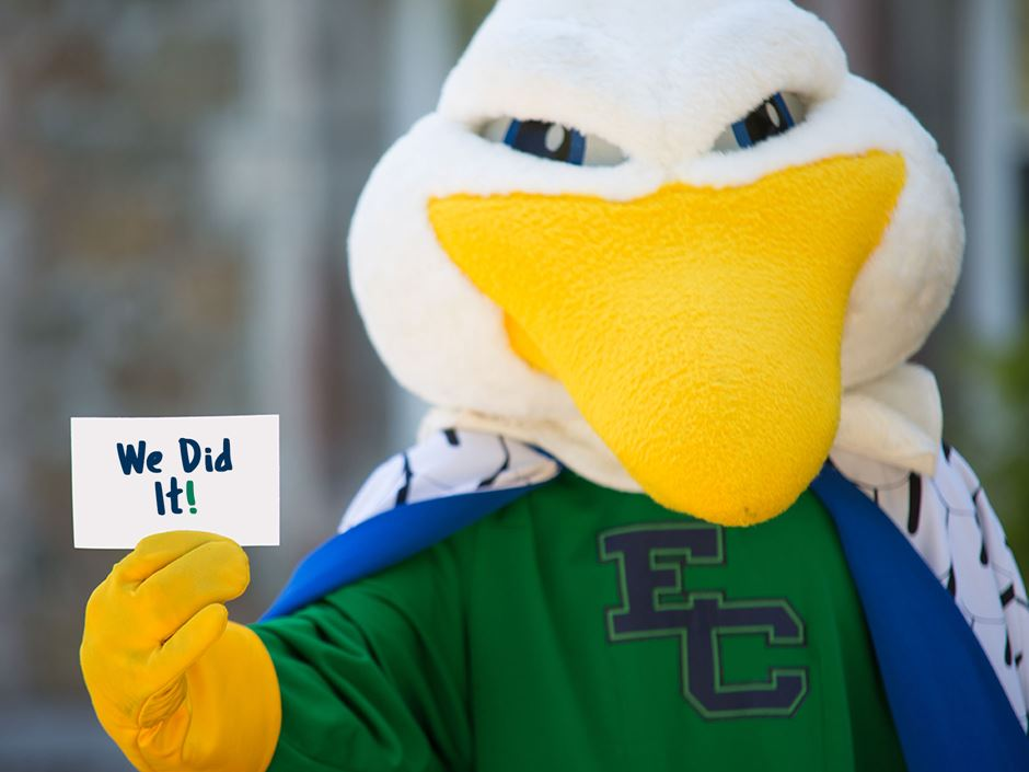 "Gull mascot holding index card that reads ""We Did It!"""