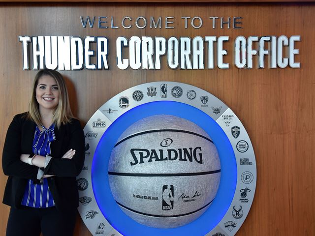 Lauren Sheehan at her first job with the NBA's Oklahoma City Thunder