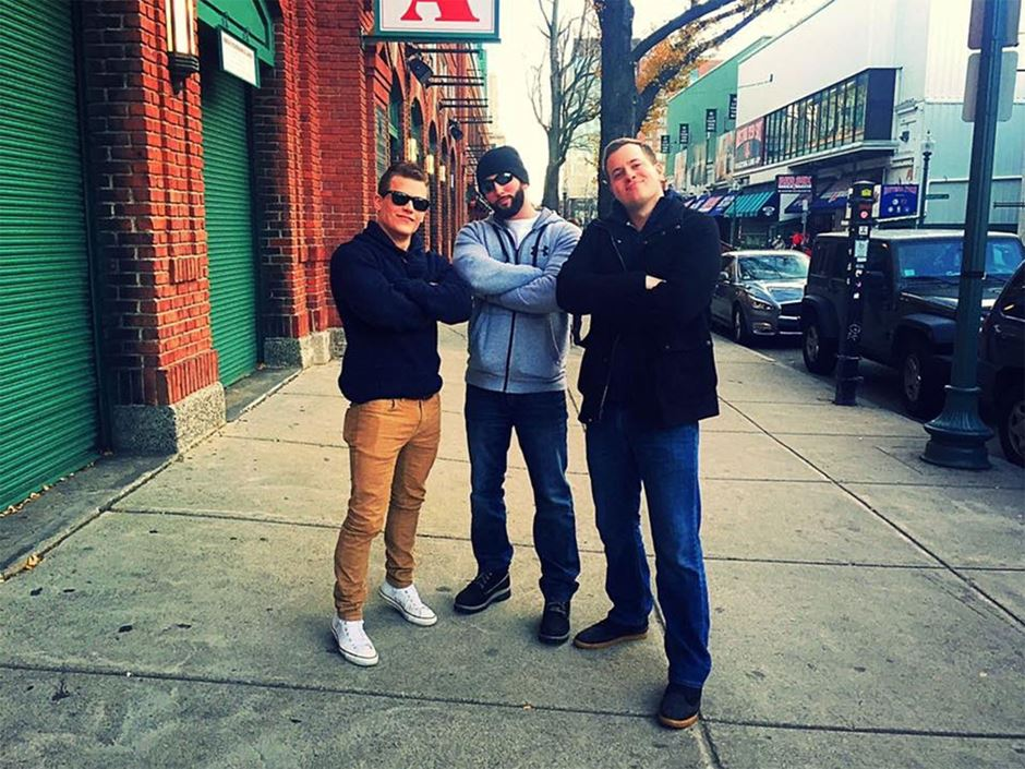 Section 10 Podcast crew standing outside Fenway Park