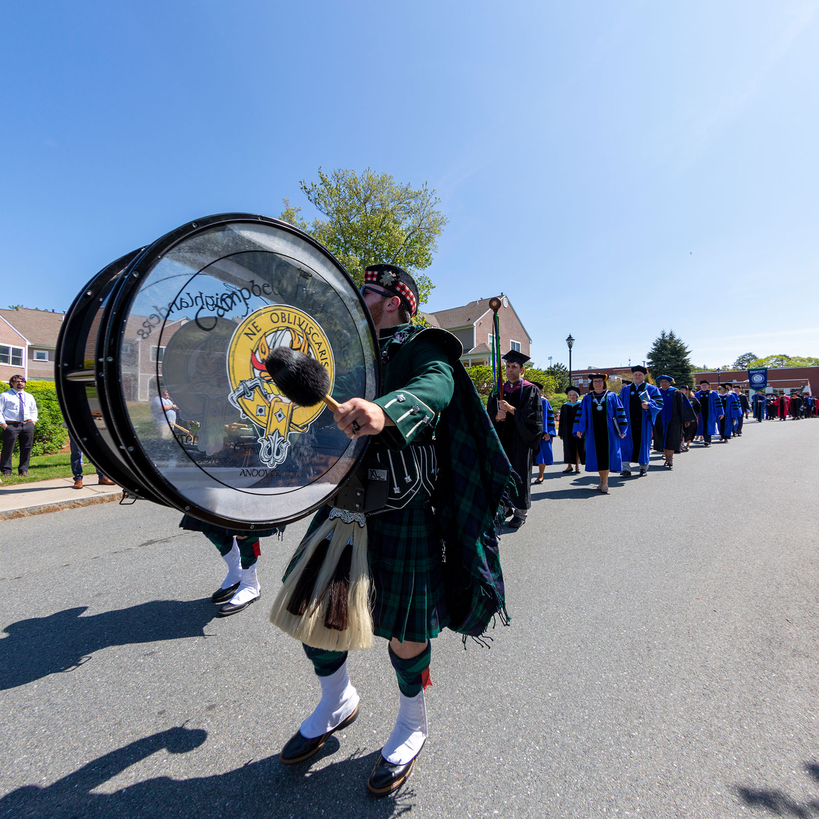 Percussionist leading Commencement procession