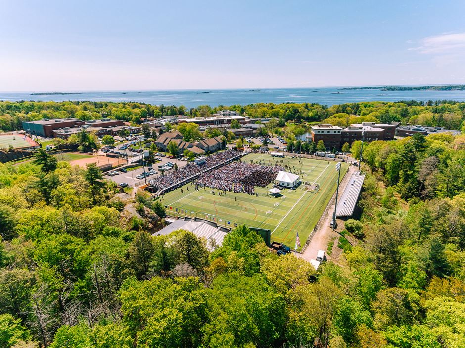 Aerial shot of the 2019 Undergraduate College Commencement