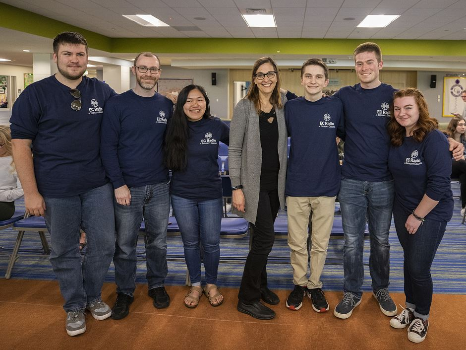 Beloved DJ Julie Kramer with Endicott students at grand opening of EC Radio; photo by David Le.