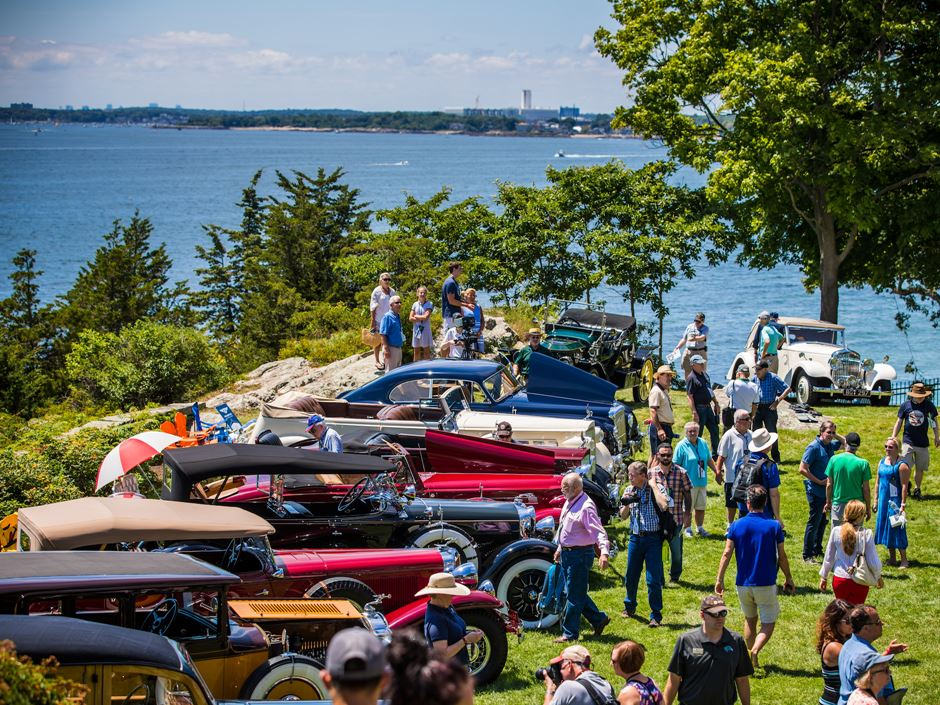 Attendees gather to look at classic cars at the Misselwood Concours d'Elegance at Endicott College. Photo by Deremer Studios LLC.