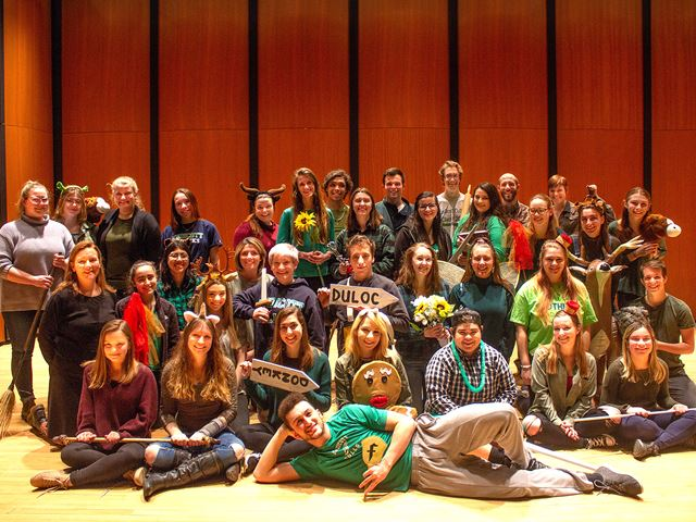Endicott musical theater students gather for a cast shot of 'Shrek: The Musical.'