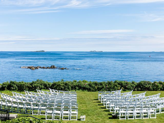 Chairs arranged for a seaside wedding at Misselwood Estate at Endicott College