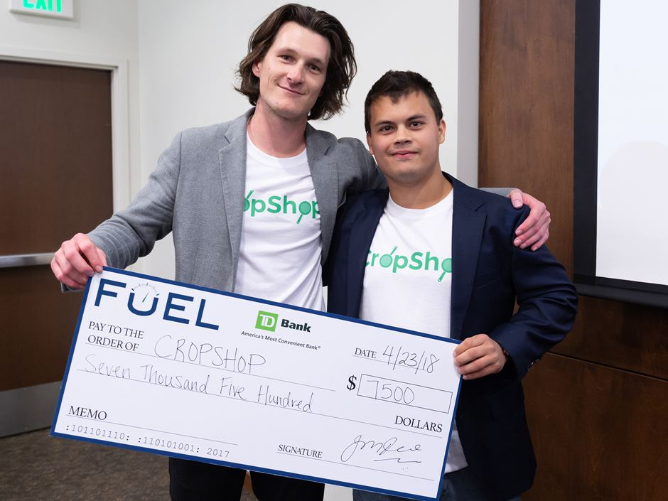 CropShop co-founders AJ Marcinek '19 and Cam Bleck '19, winners of the 2018 Spark Tank business plan competition at Endicott College