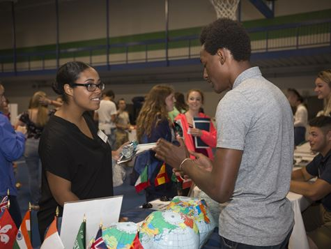 students talking at career/job fair