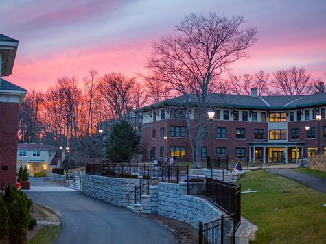 sunrise/sunset shot of residence hall from a distance