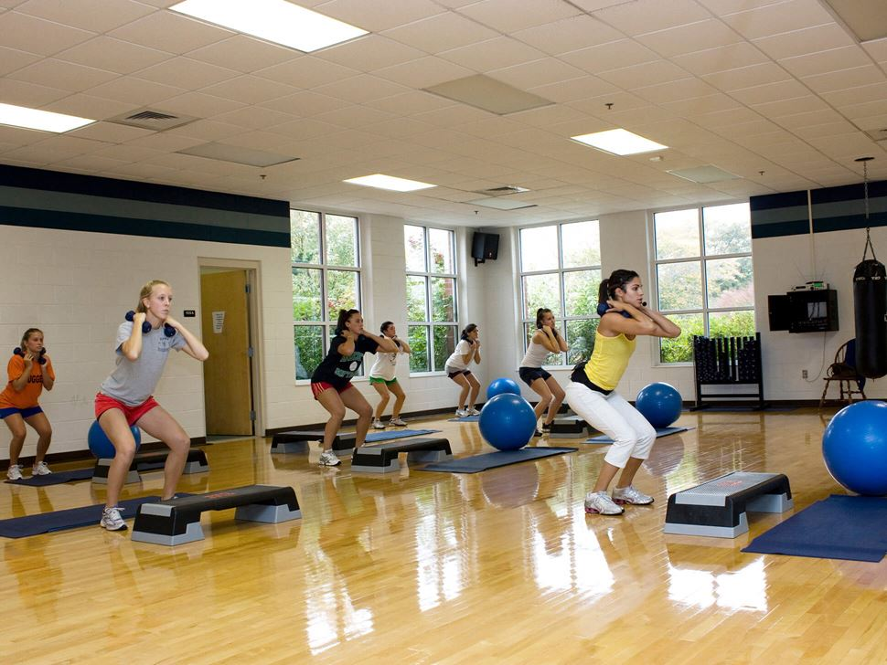 group of people doing aerobics class in fitness center