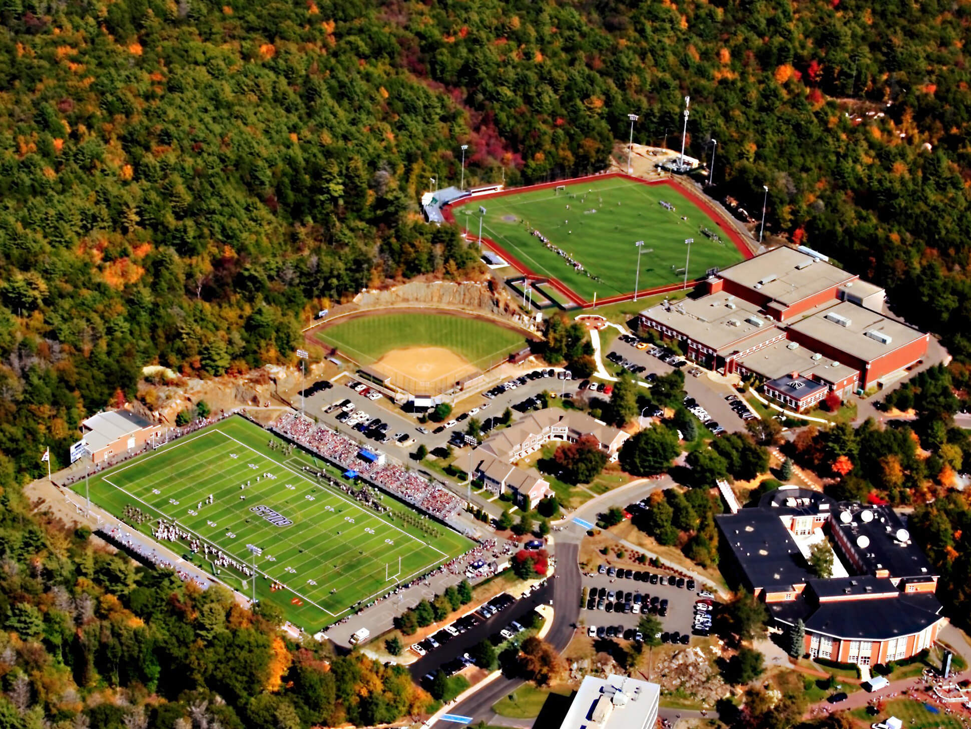 aerial shot of endicott athletic fields and facilities