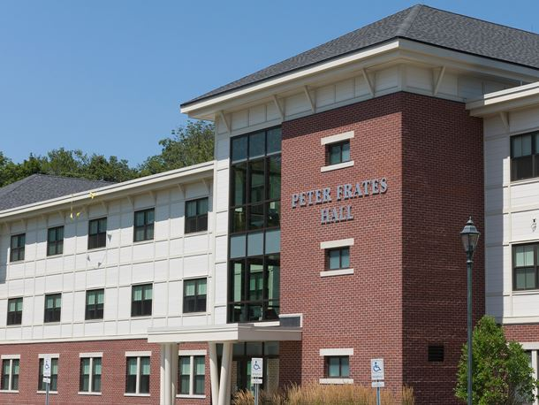 a view of the peter frates hall