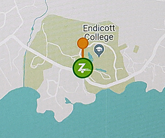 map with zipcar location at Endicott