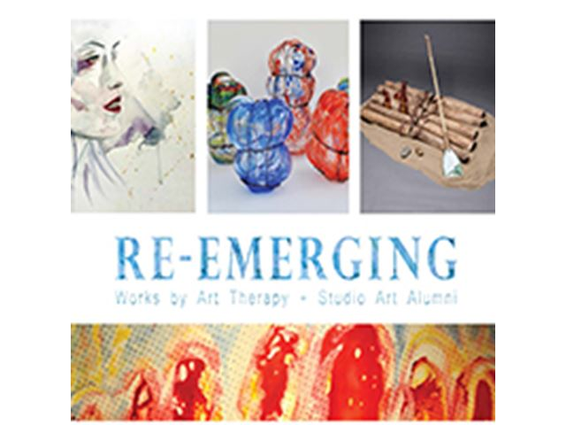 a poster for Re-emerging works by Art Therapy