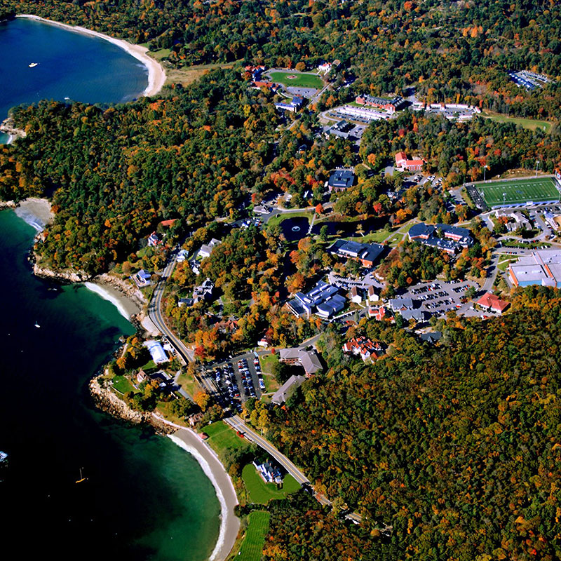 an aerial view of the endicott campus